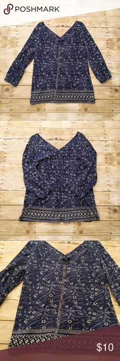 Blue/white Lucky Brand 3/4 sleeve top, large Good used condition Lucky Brand top in a size large. Blue with a white/yellow colored flower pattern. Very pretty but does have some wash wear. Total length- approximately 26 inches, bust- approximately 18 inches, sleeve length- approximately 19 inches. Lucky Brand Tops Tees - Long Sleeve