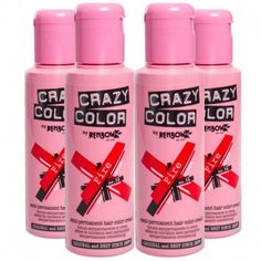 Crazy Color Semi-Permanent Colour Hair Dye 4 Pack (Fire Red)