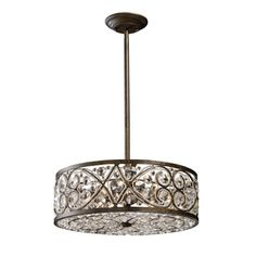 Westmore Lighting�17-in W Antique Bronze Crystal Pendant Light with Crystal Shade