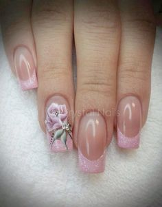 trendy nails coffin french tip nailart Beautiful Nail Designs, Cute Nail Designs, Beautiful Nail Art, Beautiful Beautiful, Beautiful Pictures, Fancy Nails, Trendy Nails, Pink Nails, Rose Nails