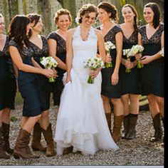 blush pink bridesmaids dresses and cowboy boots - image by studio ...