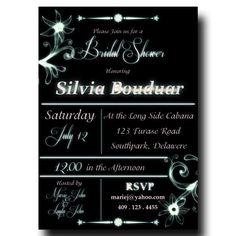 Bridal Shower Invitation Black - White Cyon Text, Black Background, Mystical Flowers, DIY Printable 5x7 or 4x6