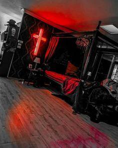 Goth Bedroom, Grunge Bedroom, Room Ideas Bedroom, Bedroom Decor, Dark Home Decor, Goth Home Decor, Gothic Room, Gothic House, Halloween Bedroom