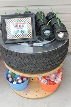 Fun drinks at a Race Car Birthday Party! See more party ideas at CatchMyParty. - The Motor Show Race Car Birthday, Hot Wheels Birthday, Joint Birthday Parties, Car Themed Parties, Race Car Party, Birthday Party Decorations, 3rd Birthday, Birthday Ideas, Car Themed Birthday Party