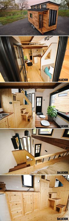 The Escapade is a modern tiny house built by Baluchon in Nantes, France. The 185 sq.ft. house has a distinctive split roofline with four large windows.