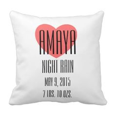 Baby Name Meaning Pillow - Amaya Create your own personalized baby name meaning throw pillow. Four different color options, customize with baby's name, meaning, birth date and weight
