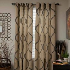 Somerset Home Metallic Window Panel Grommet Curtains, Set of 2, Beige
