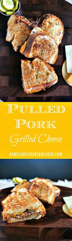 Tender pulled pork, BBQ sauce, sourdough bread and delicious gooey cheese combine for this delicious Pulled Pork Grilled Cheese. Tart and tangy bread and butter pickles pull everything together with a delightful crunch and bite