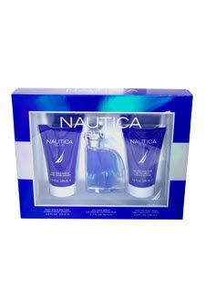 Nautica Blue by #Nautica Fragrances for Men - 3 Pc Gift Set 1.7oz Cologne Spray, 4.2oz Post Shave Soother, 4.2oz Hair and Body Wash