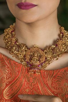 Gold Plated South Indian Lakshmi Temple Jewelry Necklace Set/ Gold plated Temple work Choker and Jhumka Earrings Set – Necklace 2020 Necklace Set, Necklace Lengths, Gold Necklace, Gold Choker, Mango Necklace, Small Necklace, Necklace Ideas, Small Earrings, Gold Jewelry