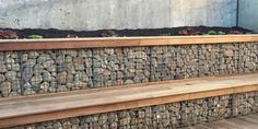 Retaining Walls Melbourne - Gabion baskets are perfect as retaining wall blocks; they are incredibly strong, highly weather resistant and well known retaining wall builders in Melbourne. Gabion Retaining Wall, Small Retaining Wall, Retaining Wall Blocks, Wall Bench, Wall Seating, Gabion Cages, Gabion Baskets, Limestone Wall, Sloped Garden