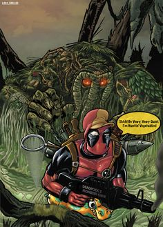 Deadpool vs Man Thing by LiamShalloo.deviantart.com on @deviantART