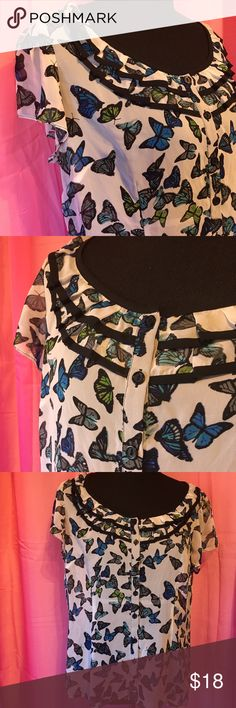 """Butterfly Blouse So stinkin' cute! This adorable sheer blouse has a ruffled neckline, functioning buttons, and small flutter sleeves. Armpit to armpit is approx. 21"""", and it is approx. 24"""" tall. The fabric content is 100% polyester and has no stretch. It is sheer, so a cami is required. Great used condition - has been worn three times. Bundle with my jewelry or accessories and save even more! :) East 5th Tops Blouses"""
