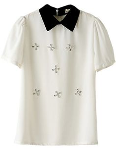Indressme | Diamonded collar chiffon shirt style 344502 only $35.66 .