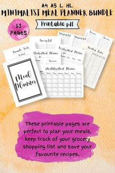 If you are looking for meal planning organization printables, this is the best planner for you! it includes a monthly meal planning printables, a weekly meal planner and the best grocery list to plan and achieve your health and fit weight loss diet. You´ll also receive Recipe cards and more printables to organizing the best recipes to try. Organize your meal planning ideas weekly or monthly with a healthy eating planner and meal tracking printables #mealplanning #familymealplanning… Healthy Eating Planner, Monthly Meal Planner, Shopping List Grocery, Family Meal Planning, Organizing, Organization, Meal Planning Printable, Best Planners, Organisation