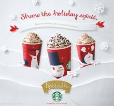 A selection of my Starbucks Christmas 2012 printed advertisements Starbucks Birthday, Starbucks Christmas, Christmas Ad, Christmas Coffee, Christmas Drinks, Holiday, Food Graphic Design, Food Menu Design, Food Poster Design