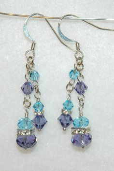 Handmade Swarovski Earrings in Aquamarine & by BeadLeafDesign