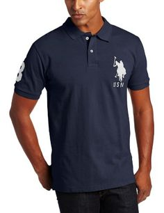 ef47453c6a6 Men's Solid Short Sleeve Pique Polo, Red/Navy, X-Large Short-sleeve polo  shirt featuring two-button placket and large-scale embroidered logo at  chest Number ...