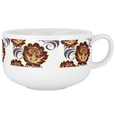 Large Abstract Deep Red Flowers Soup Mug