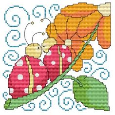 From Cross Stitch Wonders - Flowers And Friends Lady Bug    Adorable Flowers And Friends Lady Bug Design! Stitch count is 80 x 80. Included is a large/easy to read counted cross stitch chart, suggested DMC floss colors, and a color picture.
