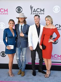Tyler Hubbard Photos Photos - (L-R) Brittney Marie Cole, recording artists Brian Kelley and Tyler Hubbard of music group Florida Georgia Line, and Hayley Stommel attend the 52nd Academy Of Country Music Awards at Toshiba Plaza on April 2, 2017 in Las Vegas, Nevada. - 52nd Academy of Country Music Awards - Arrivals