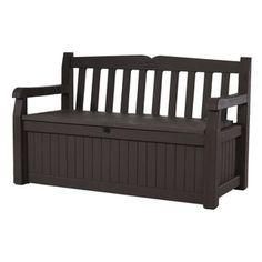 Brown All Weather Patio Storage Garden Bench Deck
