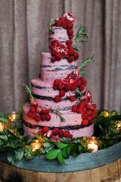 Wedding cake, four tiers, strawberry, pomegranate, naked chocolate cake // Tim Ryan Smith Photography