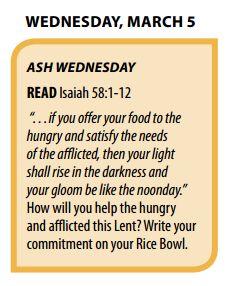 Printable Lenten Calendar from Catholic Relief Services
