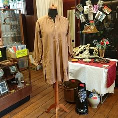 Your place to buy and sell all things handmade Blouse Vintage, Cotton Blouses, Overalls, Tunic, Shirt Dress, Brown, Fabric, Sleeves, Shirts