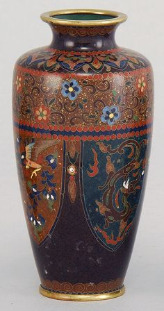 """Lot 288: CLOISONNÉ ENAMEL VASE By Ando. In tapered cylinder form with phoenix and dragon design. Inlaid mark on base. Height 4¾"""". - Eldred's 