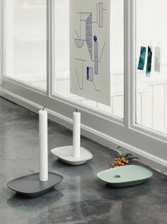 Modern and playful home decor inspiration from Muuto: A geometric, Scandinavian take on the classic Victorian candlestick, the Float's jutting tray can be used to hold a candle or to store your essential items.