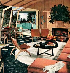 50s decor -- great illustration. I love how the indoor white circles on the carpet turn into grey concrete blocks moving outdoors. That great modern blend of homes that blur the line between indoors & outdoors.