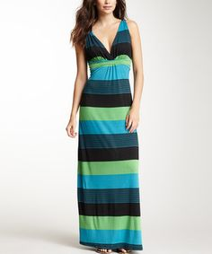 Look at this #zulilyfind! Black & Turquoise Stripe Empire-Waist Maxi Dress by Papillon Imports #zulilyfinds