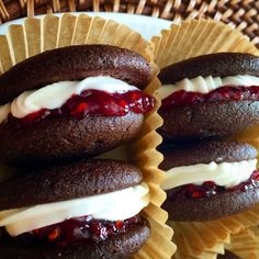 Whoopie pies with a Coconut Champagne Buttercream frosting and Raspberry Jam!  Let the sweetness begin!