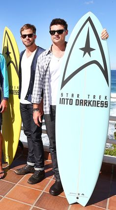 Chris Pine and Karl Urban remind you Star Trek is the coolest thing to happen to . . . surfing.