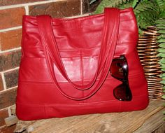 Recycled Leather Boho Hobo Handbag - Gorgeous Dark Red Upcycled Leather