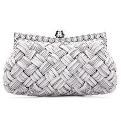 Yoins Woven Jewelled Clutch Bag ($18) ❤ liked on Polyvore featuring bags, handbags, clutches, grey, gray handbags, hand woven bags, hand bags, handbags purses and grey handbags