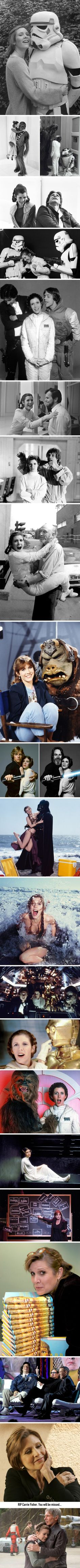 Photos of Carrie Fisher. Other than my mom, she was my first heroine. Her portrayal of Princess Leia was strong, smart, and tender. Leia was a badass. Star Wars Film, Star Trek, Star Wars Rebels, Star Wars Art, Carrie Fisher, Starwars, Geeks, Kampfstern Galactica, Humour Geek