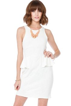 ShopSosie Style : Harmia Peplum Dress in Off White