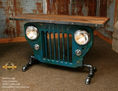 Antique Willys Jeep Grille and antique railroad boxcar wood top Car Part Furniture, Automotive Furniture, Furniture Design, Furniture Stores, Furniture Online, Furniture Dolly, Furniture Movers, Furniture Ideas, Bench Furniture