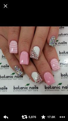 Pink white and silver bedazzled nails for Easter
