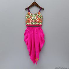 Multicolour Top With Pink Dhoti