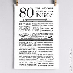Personalized 80th Birthday Poster, 1937 Events - Multiple Sizes Available, Great Gift or Party Decoration!