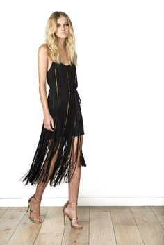 Black fringe dress // Rachel Zoe Resort 2016 - Collection - Gallery - Style.com