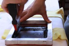 A glimpse of the process of Silk Screen Printing our Super Socks in the Studio! by Emma Nissim www.emmanissim.com