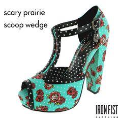 아이언피스트 scary prairie scoop wedge #ironfist #아이언피스트 #펑키 #유니크 #여자구두 #웨지힐