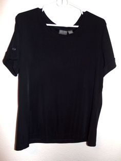 ADDITIONS BY CHICOS 3 Black Short Sleeve Tops Blouse Shirt Sleeve detail button #AdditionsbyChicos #KnitTop #Career