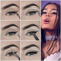 White Eyeliner Makeup, Pink Eye Makeup, Makeup Eye Looks, Colorful Eye Makeup, Eye Makeup Art, Natural Eye Makeup, Smokey Eye Makeup, Skin Makeup, Eyeshadow Makeup