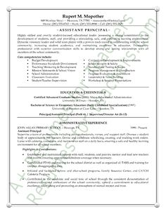Assistant School Principal Resume Or CV Sample A.k.a. Vice Principal  Assistant Principal Resume