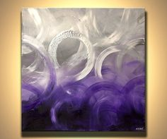 Modern Silver Abstract Painting x Original contemporary acrylic art… Diy Canvas Art, Diy Wall Art, Purple Art, Purple Canvas, Easter Arts And Crafts, Hanging Paintings, Art For Art Sake, Abstract Sculpture, Pretty Art
